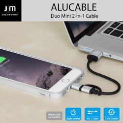 AluCable Duo mini 2-in-1 Cable with Lightning & micro-USB connectors (4in/10cm)