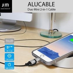 MFi認証 ライトニング&micro-USB 変換ケーブル Just Mobile AluCable Duo