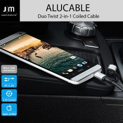 MFi認証 ライトニング&micro-USB 変換ケーブル Just Mobile AluCable Duo Twist